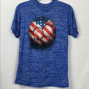 Tek Gear blue tee shirt with soccer ball boys XL